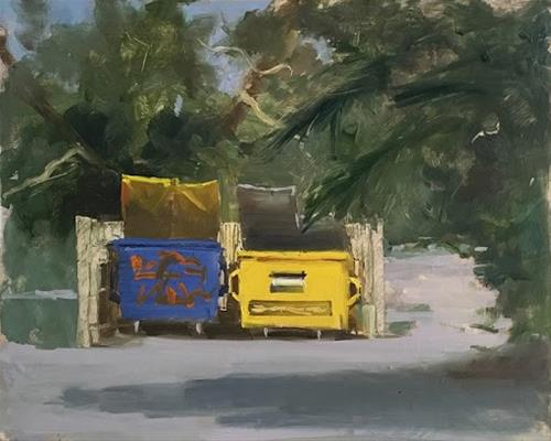 """BIG BINS"" original fine art by Helen Cooper"