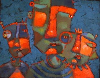 """B-Man, Robin and Cat-Mom"" original fine art by Brenda York"