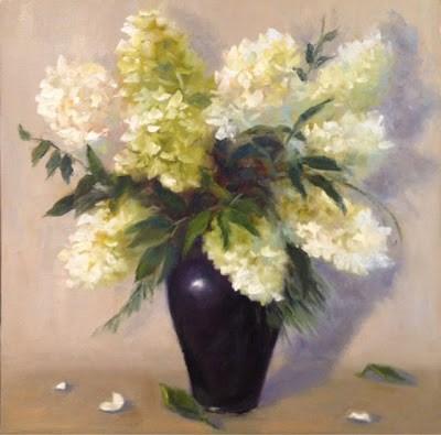 """""""Hydrangeas in White"""" original fine art by Pat Fiorello"""