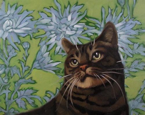 """""""Cool Blue striped cat on floral pattern"""" original fine art by Diane Hoeptner"""