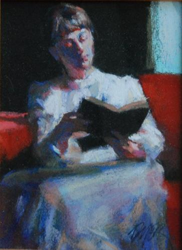"""""""A Book by the Window"""" original fine art by Margaret Dyer"""