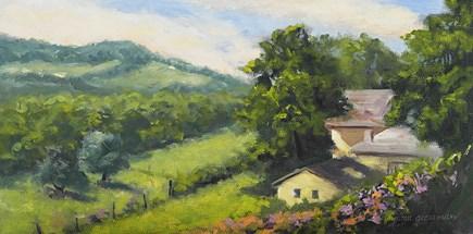 """Across the Fields from Cosy Cottage"" original fine art by Jamie Williams Grossman"