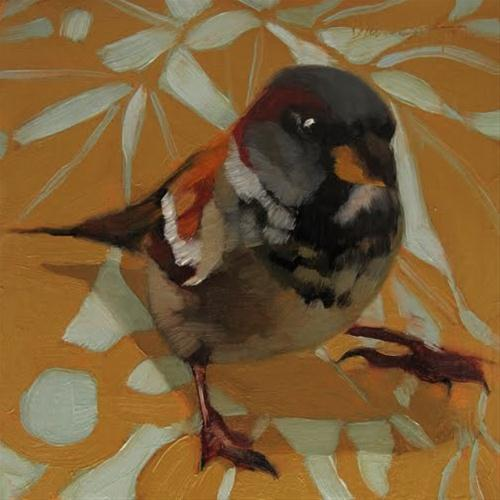 """Sparrow on Pattern painting"" original fine art by Diane Hoeptner"