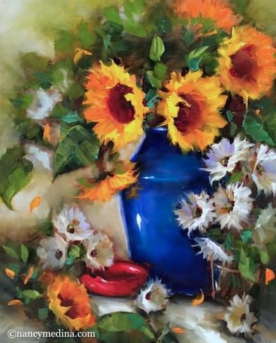 """San Diego Splash Sunflowers and Roses in the Garden - Flower Paintings by Nancy Medina"" original fine art by Nancy Medina"