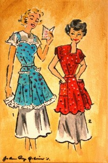 """Vintage Housewives, 2"" original fine art by JoAnne Perez Robinson"