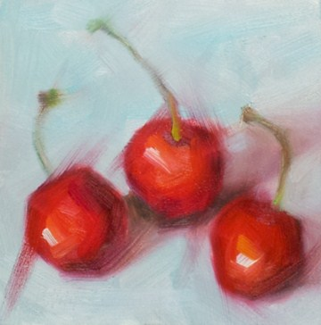 """Cherries Flambe"" original fine art by Cindy Haase"