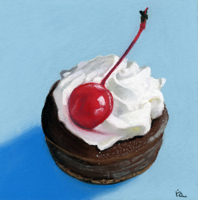 """chocolate tart"" original fine art by Ria Hills"