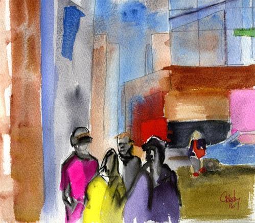 """Intersection Companions"" original fine art by Donna Crosby"