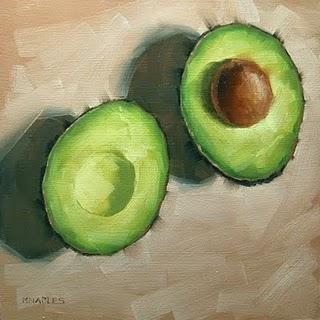 """Cut Avocado"" original fine art by Michael Naples"