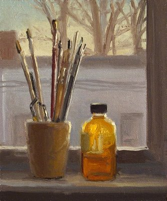 """""""Brushes and Stand Oil on a Sill, Evening"""" original fine art by Abbey Ryan"""