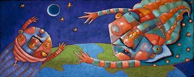 """Moonbeam And The Mother-ship"" original fine art by Brenda York"
