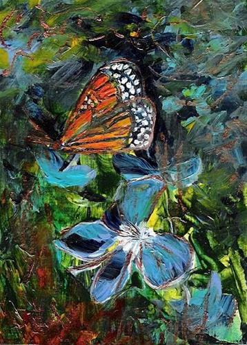 """3039 - BUTTERFLY FLOWERS - ACEO Series"" original fine art by Sea Dean"
