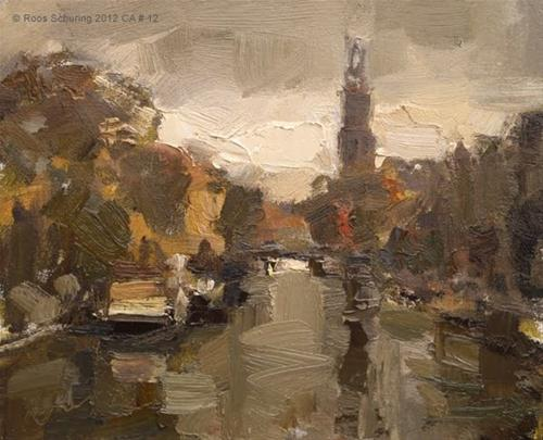 """Cityscape Amsterdam #12 A lot of rain and Westertoren"" original fine art by Roos Schuring"