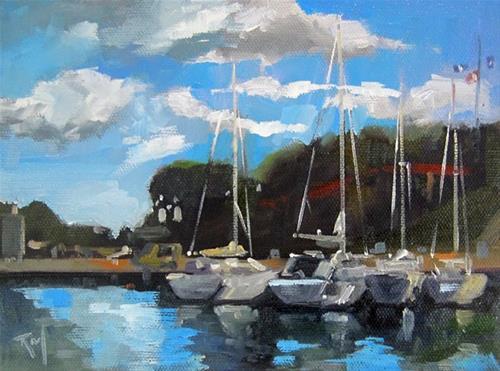"""No 825 Docked"" original fine art by Robin J Mitchell"