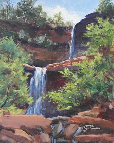 """Kaaterskill Falls – Early Morning"" original fine art by Jamie Williams Grossman"