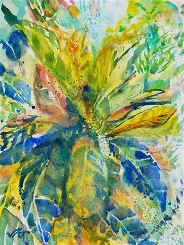 """""""Croton Petra – Codiaeum variegatum"""" original fine art by Jean Krueger"""