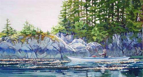 """Kayaker at George's Island"" original fine art by Carole Baker"