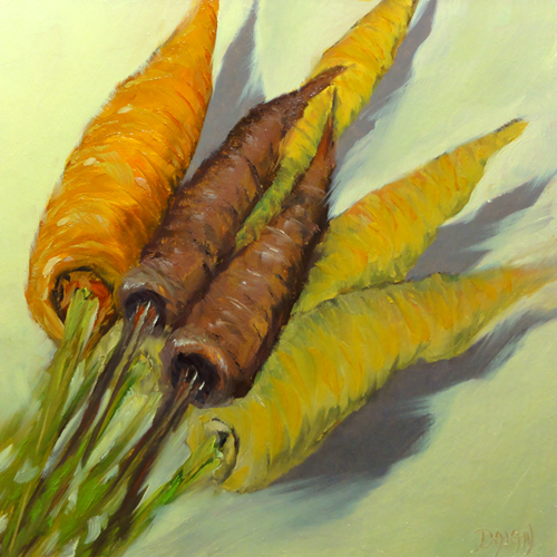 """Heirloom Carrots"" original fine art by Dalan Wells"