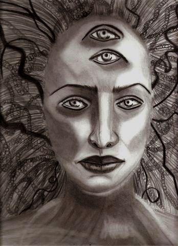 """Self Portrait as Medusa"" original fine art by Terri Brown-Davidson"