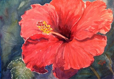 """""""Day 14 - Blood-Red Hibiscus"""" original fine art by Lyn Gill"""