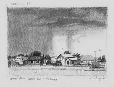 """What Rain Looks Like__sketch, rain, houses"" original fine art by V.... Vaughan"