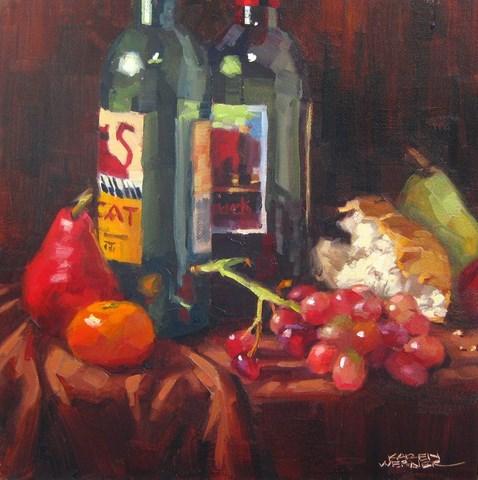 """""""Still Life With Wine Bottles"""" original fine art by Karen Werner"""