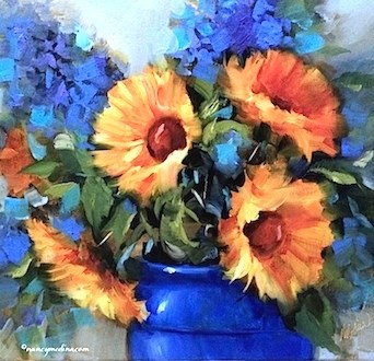 """Step by Step Sunflower Painting - Little Joys Sunflower - Paintings by Nancy Medina Art"" original fine art by Nancy Medina"