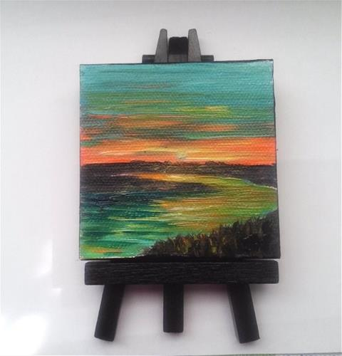 """Sunset over River"" original fine art by Camille Morgan"
