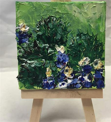 """Cactus and Bluebonnets"" original fine art by Melissa Torres"