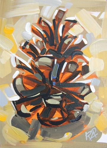"""Pine Cone Abstraction 9  (framed)"" original fine art by Roger Akesson"
