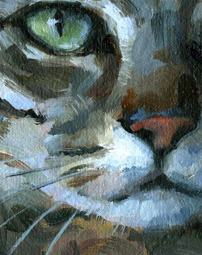 """Eloquent Tabby (Cat Head Painting)"" original fine art by J. Dunster"