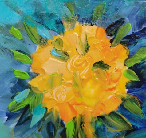 """""""3158 - Double Matted - Topiary Roses"""" original fine art by Sea Dean"""