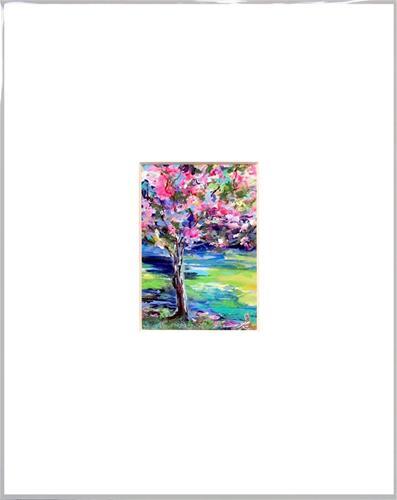 """3037 - Matted - MAGENTA TULIPS ACEO"" original fine art by Sea Dean"