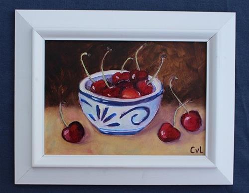 """""""Spilled cherries"""" original fine art by Conny van Leeuwen"""