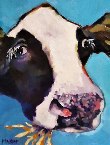 """Oh. Hi."" original fine art by Laurie Mueller"