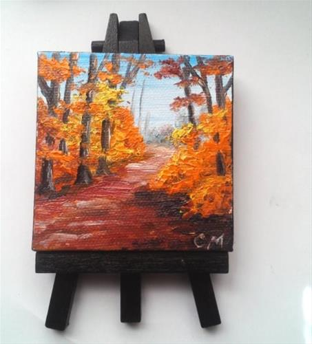 """""""Fall Trees along a Pathway"""" original fine art by Camille Morgan"""