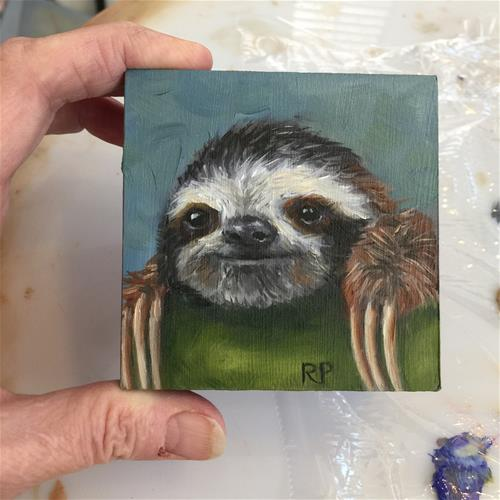"""Mini Sloth"" original fine art by Rhea  Groepper Pettit"