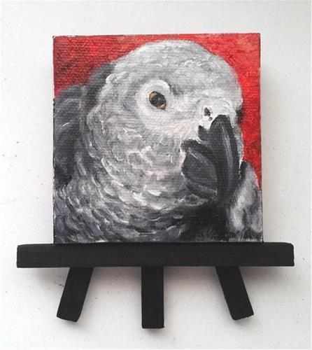 """African Grey Parrot Bird Pet Portrait"" original fine art by Camille Morgan"