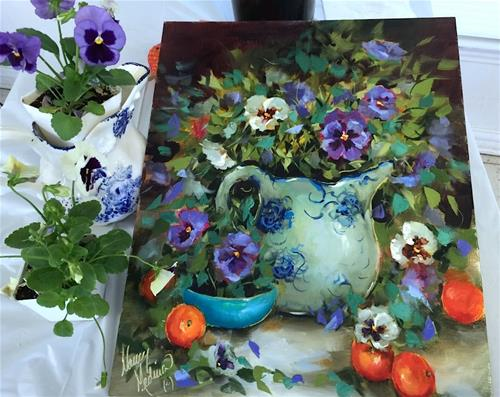 """Paint With Me Online! East Texas Pansies and a New Ecourse Opens"" original fine art by Nancy Medina"