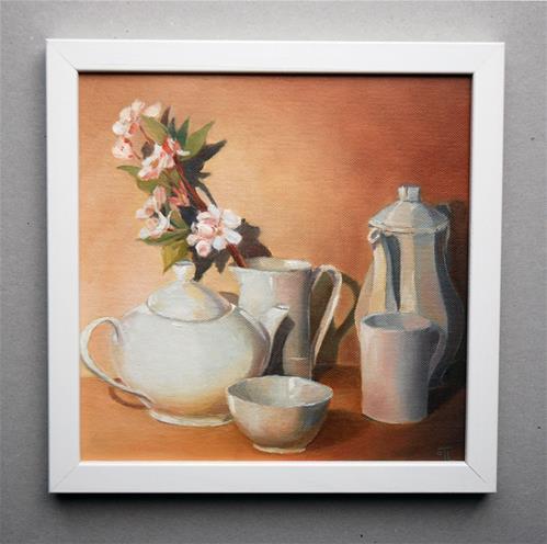 """""""For Tea cup Challenge - White dishes"""" original fine art by Olga Touboltseva-Lefort"""