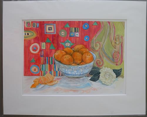 """Mandarines & Camellia"" original fine art by Laura Denning"