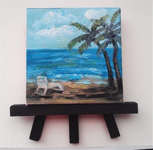 """""""Chair on Beach"""" original fine art by Camille Morgan"""