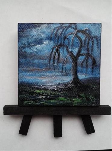 """""""Mini Oil Painting Tree Silhouette Weeping Willow"""" original fine art by Camille Morgan"""