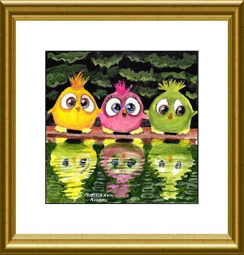 """Three Stuffed Birds"" original fine art by Patricia Ann Rizzo"