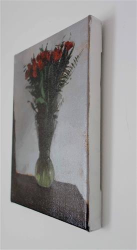 """Red Peruvian Lillies in Vase (no.124)"" original fine art by Michael William"