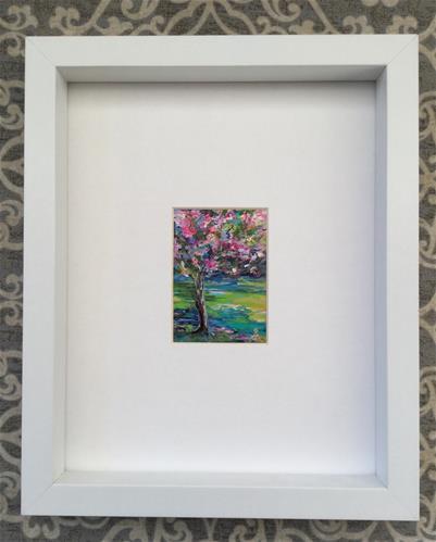 """3098 - Framed - SPRING BLOSSOM ACEO"" original fine art by Sea Dean"