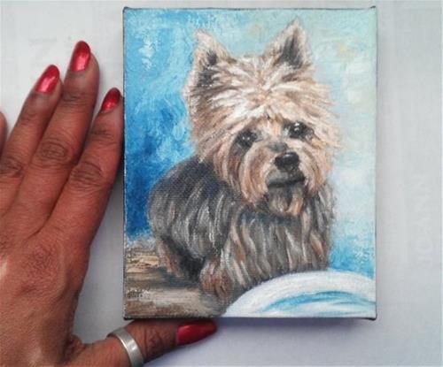 """Mini Oil Painting Yorkie"" original fine art by Camille Morgan"
