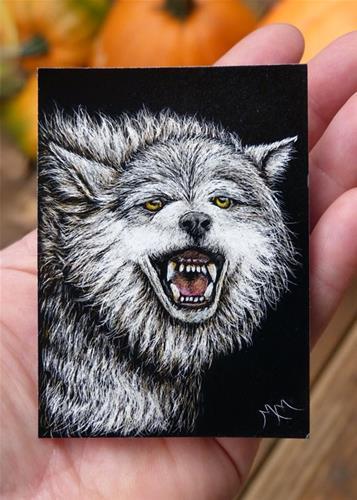 """""""Wolf II"""" original fine art by Monique Morin Matson"""