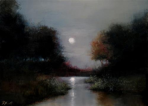 """Moon Reflection"" original fine art by Bob Kimball"