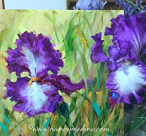 """Purple Dancer Iris Garden"" original fine art by Nancy Medina"